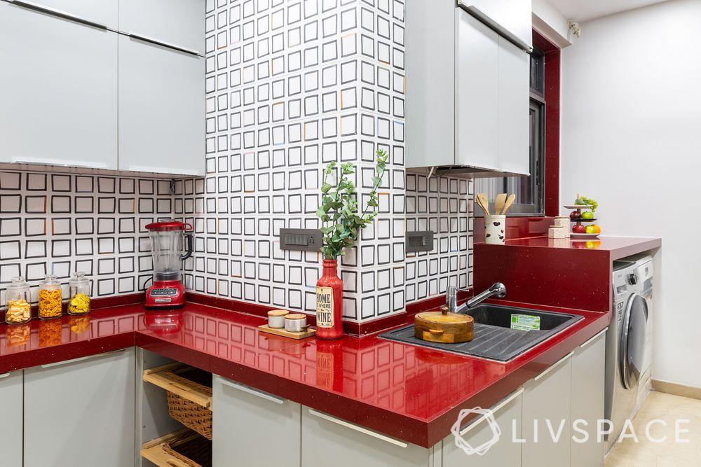 red kitchen counter-quartz countertop