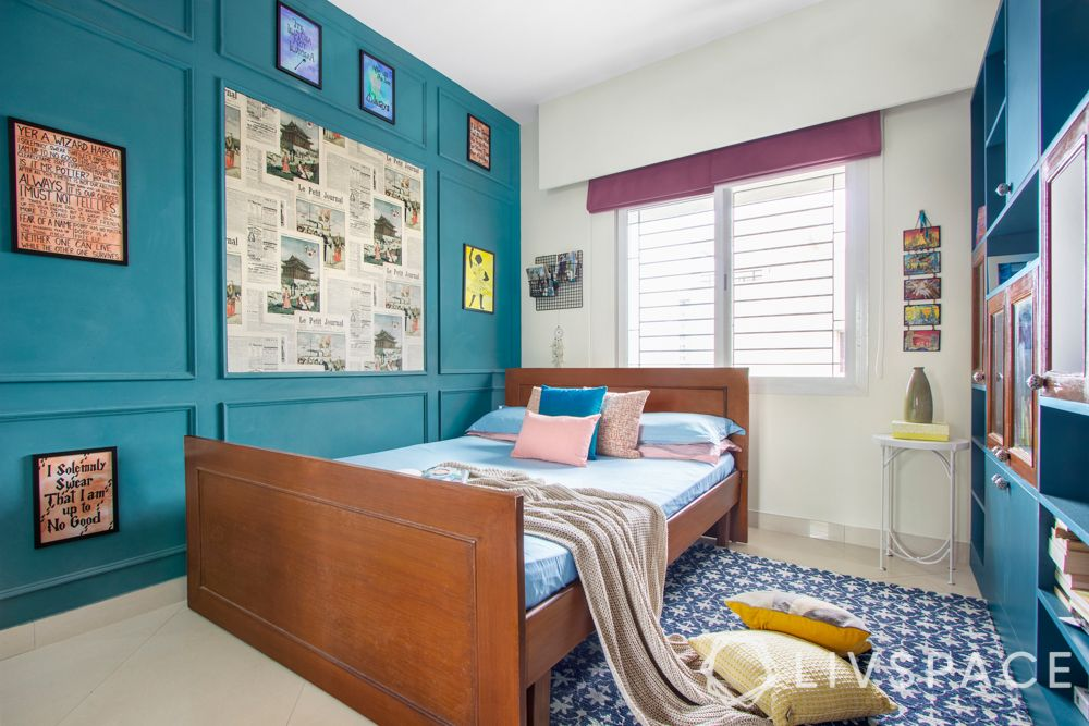 blue wall-accent wall-harry potter theme bedroom