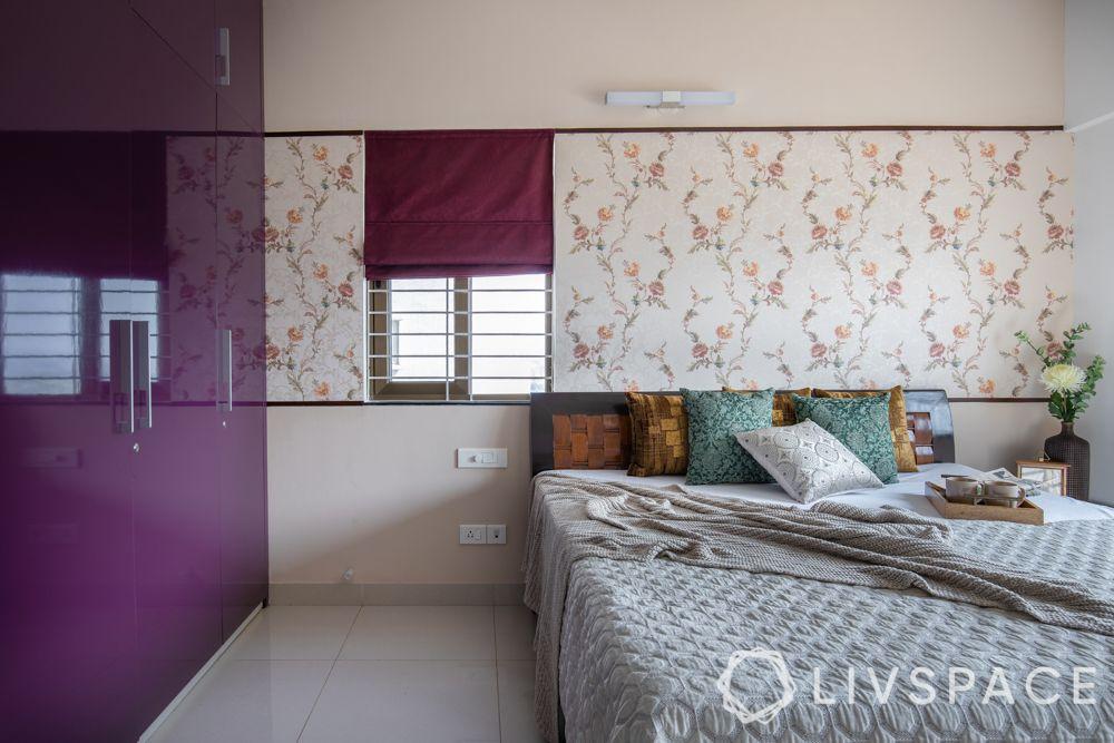 2bhk-in-Pune-master-bedroom-purple-wardrobe-floral-wallpaper