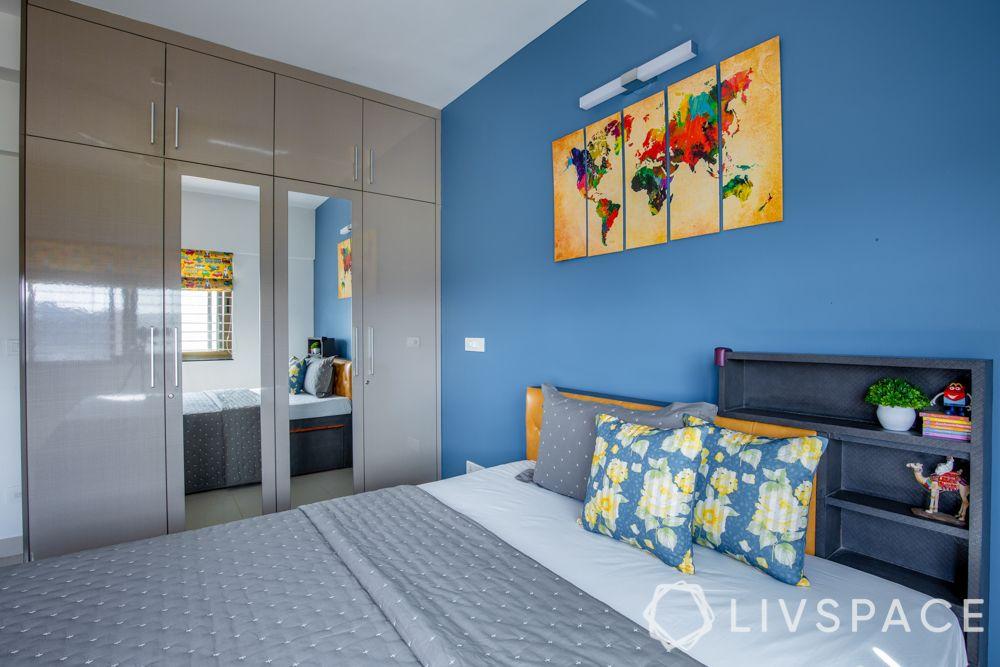 2bhk-in-Pune-kids-bedroom-blue-wall-modular-wardrobe