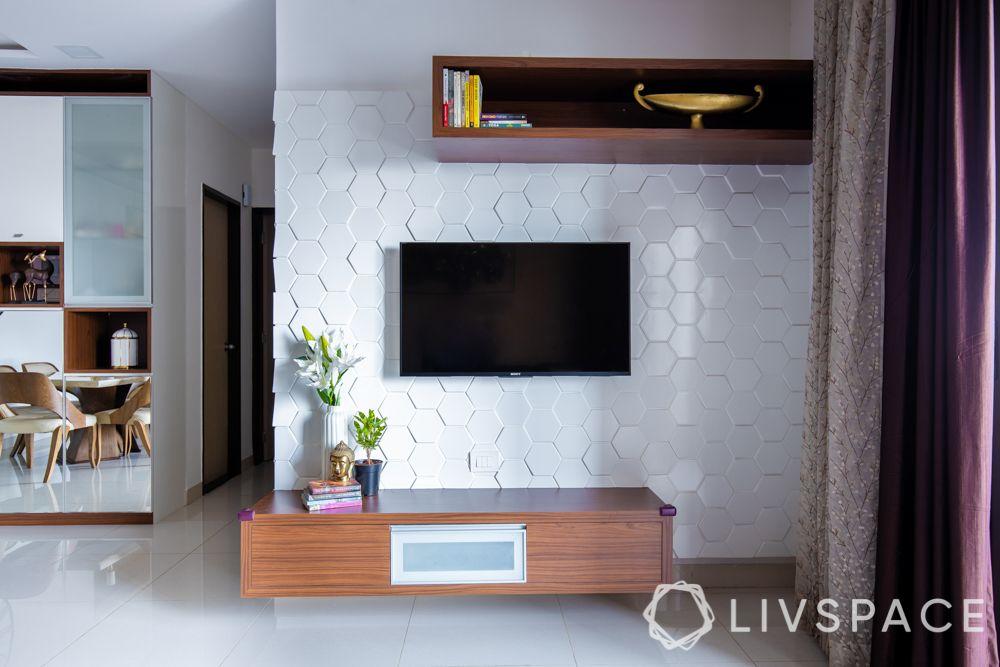 2bhk-in-Pune-TV-unit-floating-shelves-white-MDF-back-panel