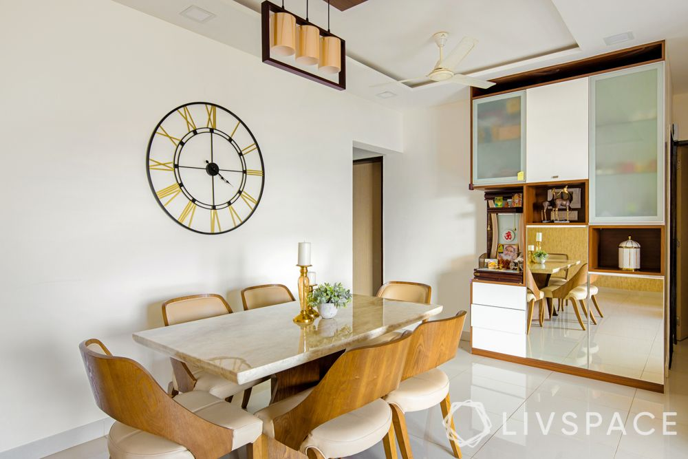 2bhk-in-Pune-dining-room-modern-colonial-italian-marble-crockery-unit-mirrors