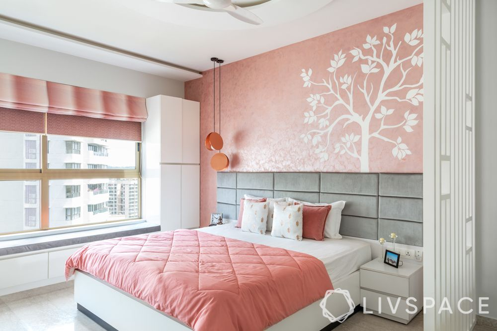 bedroom design for girls-pink and white bedroom-stucco painted dusty pink wall-white jaali partition-grey headboard