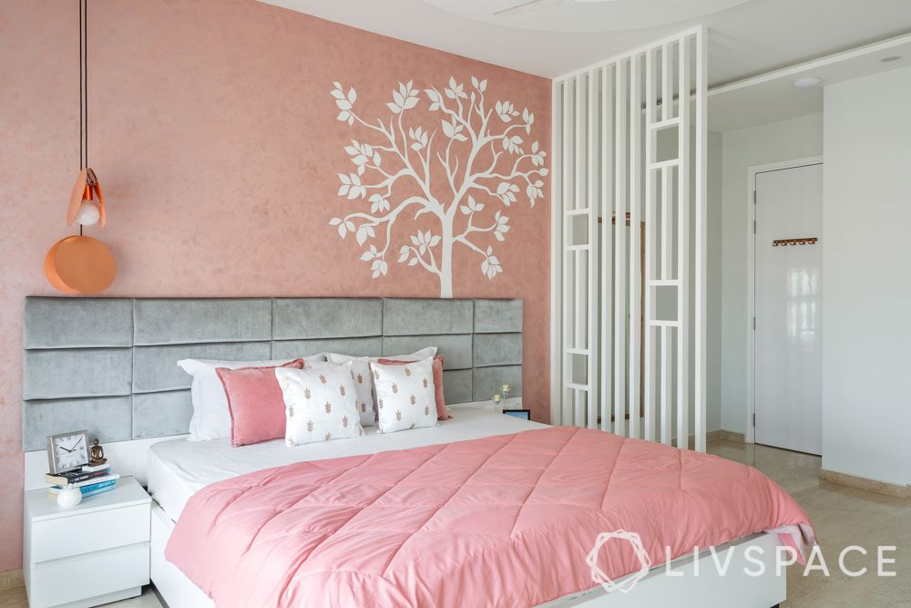 big girl bedroom ideas-white PU jaali partition-grey headboard
