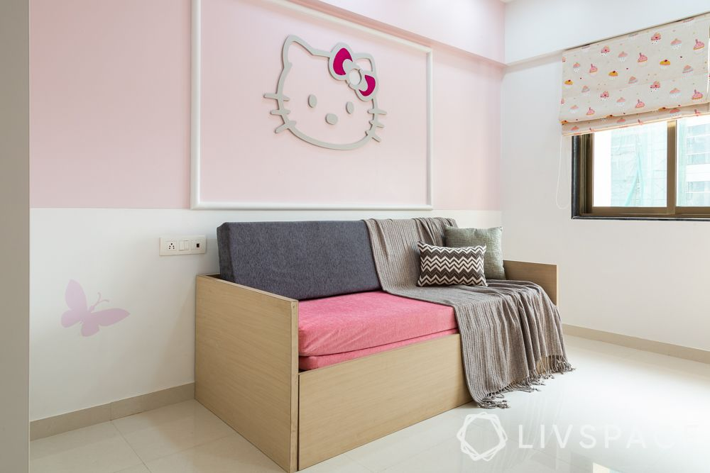bedroom design for girls-Hello Kitty themed room-wall moulding-sofa cum bed