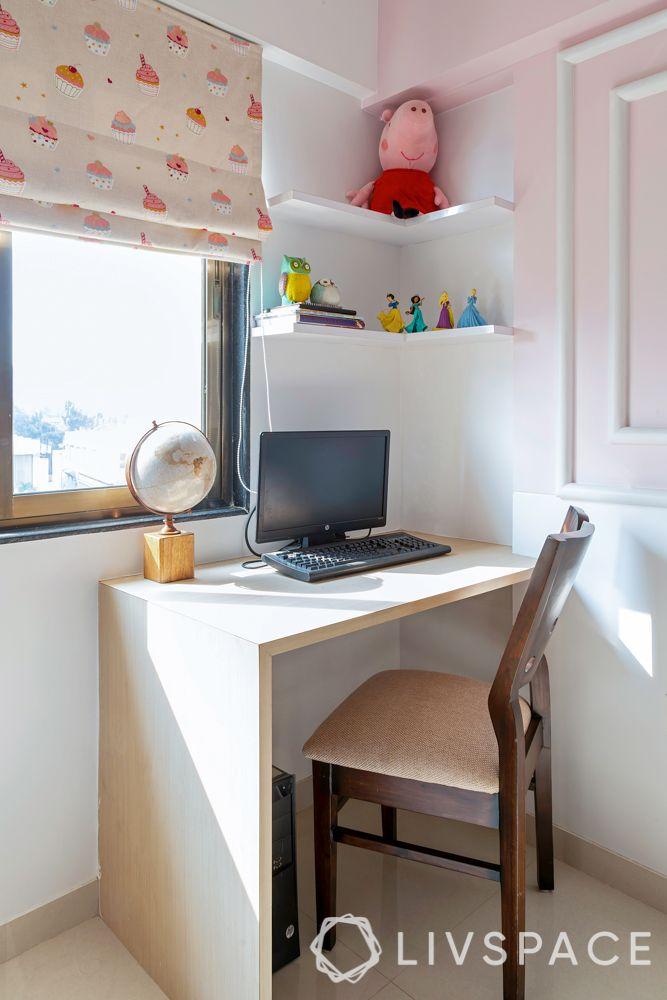 little girl bedroom ideas-study unit-L shaped study table