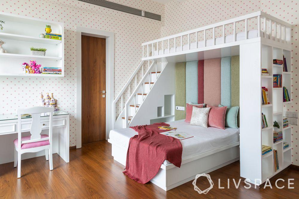 bedroom design for girls-bunk bed-tufted headboard-bookshelf