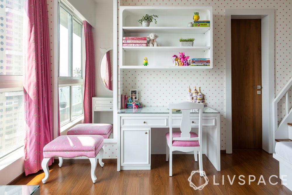 little girl bedroom ideas-study unit-dresser unit