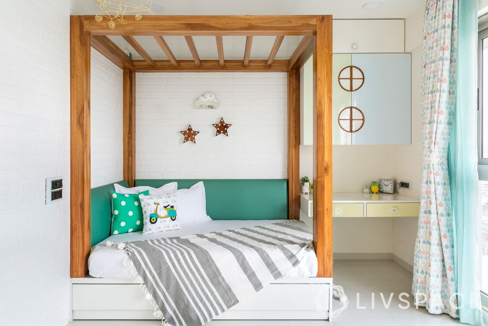 bedroom design for girls-pastel themed room-four poster bed-L shaped headboard-pull out bed-study unit
