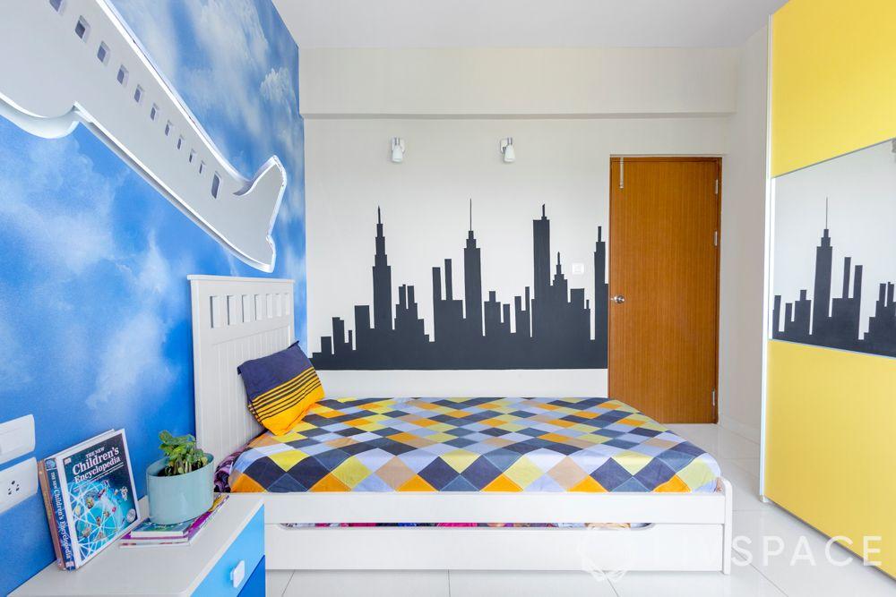 big girl bedroom ideas-Manhattan skyline painted wall