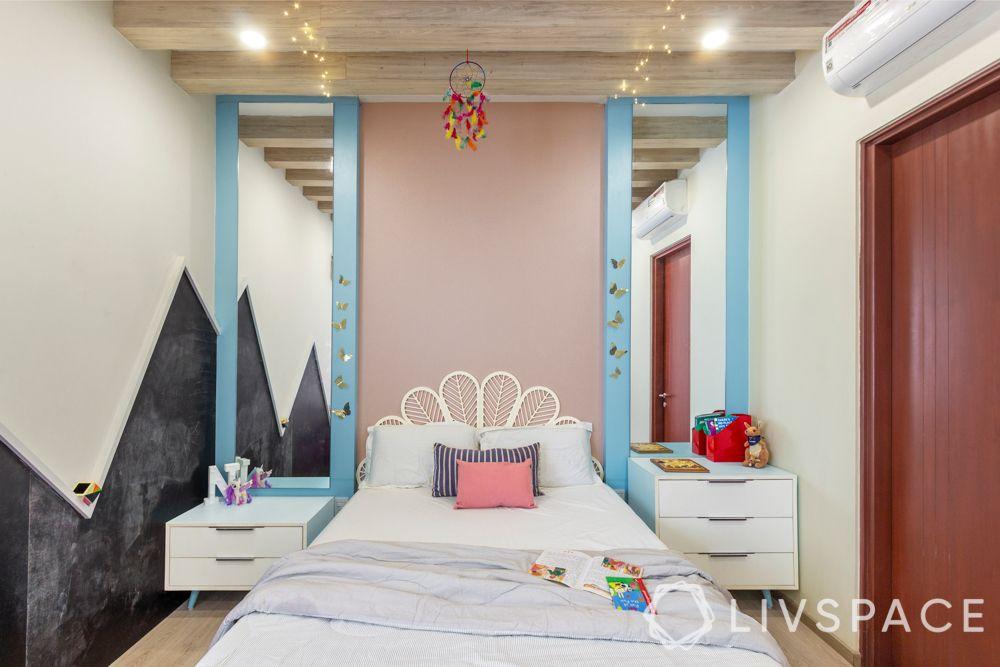 big girl bedroom ideas-high ceiling-full length mirrors