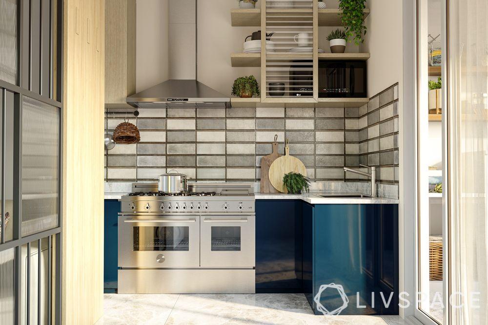 modular-kitchen-design-l-shape-small-kitchen-blue-cabinets-grey-backsplash-natural-light