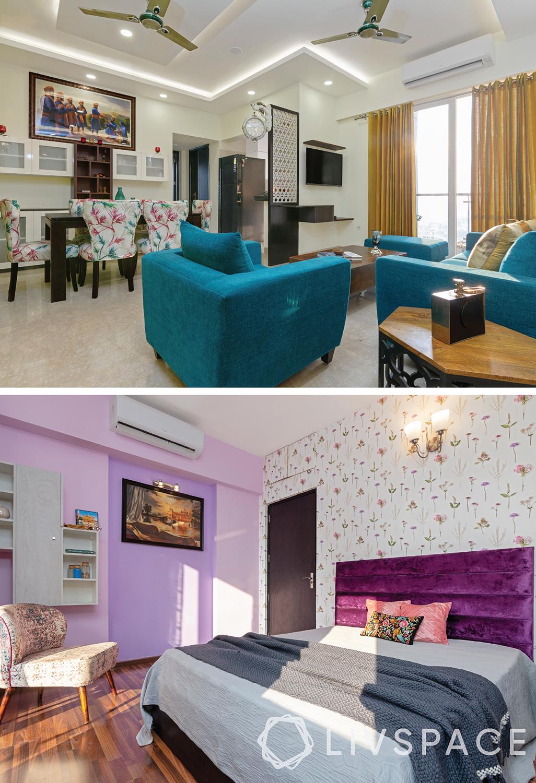 budget home-bright colours-blue sofa-lavender walls-floral wallpaper