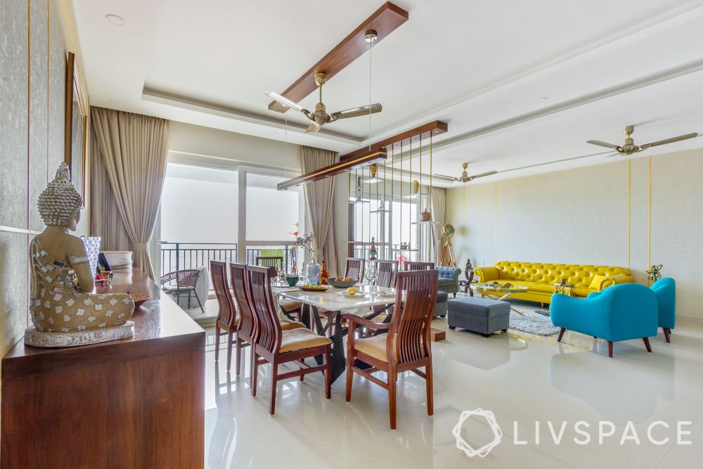 modern home design-yellow sofa-blue armchair