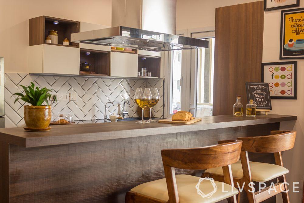 modern home design-open kitchen-bar chairs