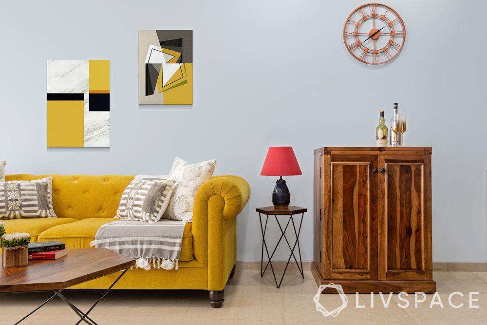 yellow sofa-wooden bar unit