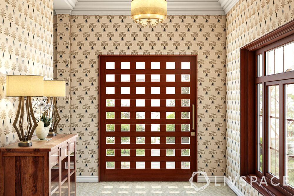 door-designs-wooden-glass-wide-entryway-gold-handle-patterned-wallpaper
