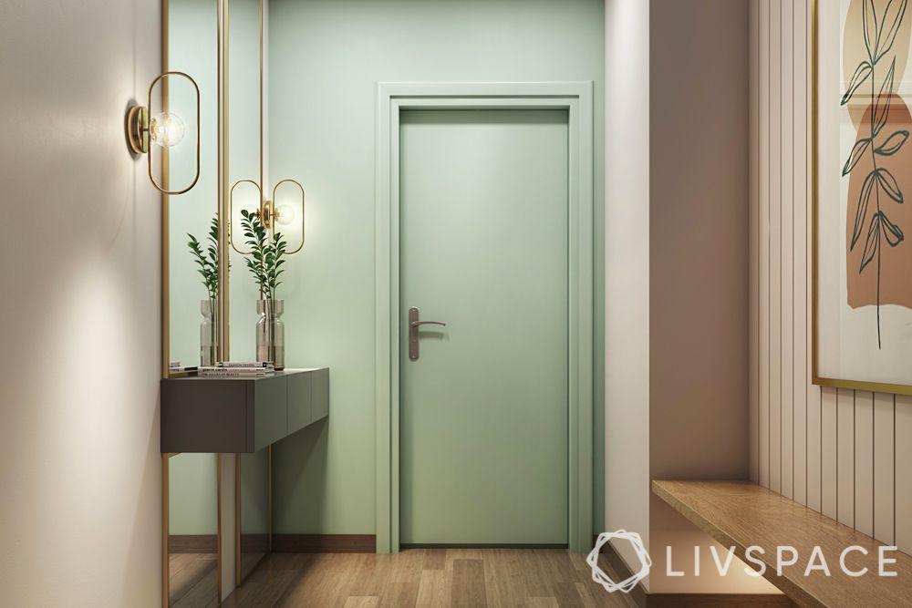 door-designs-mint-green-silver-handle-wooden-flooring