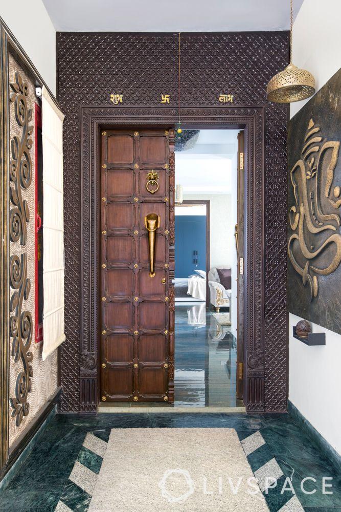 door-designs-materials-solid-wood-carving-gold-elephant-handle