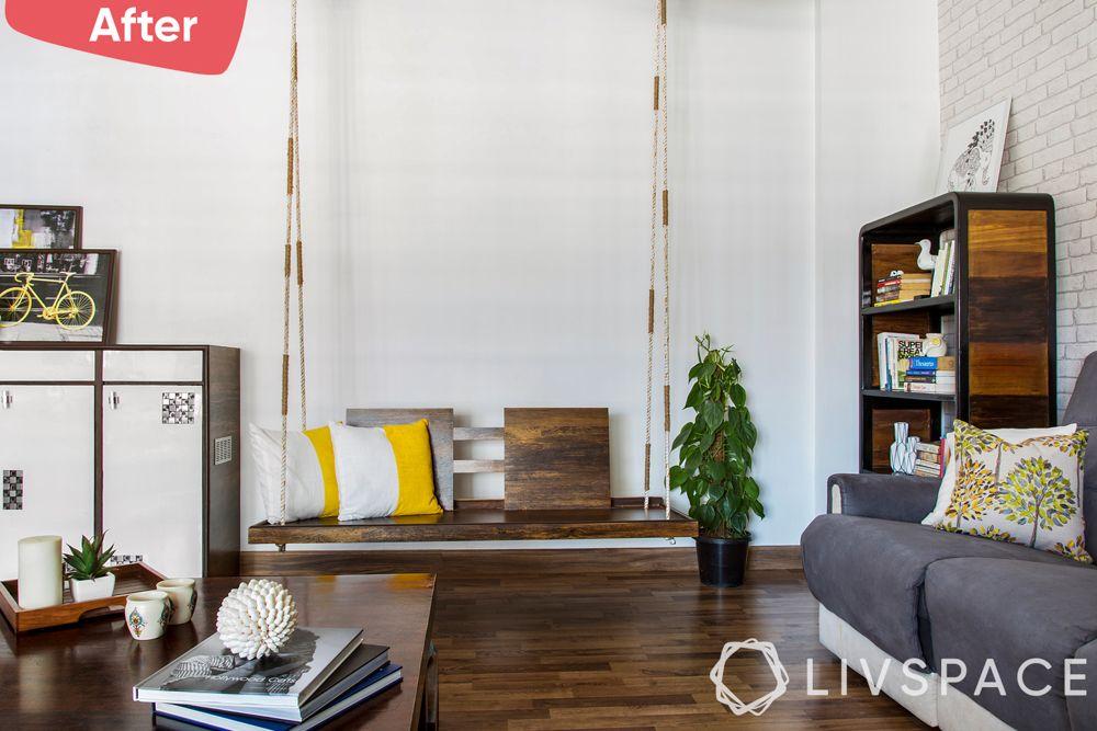 old house renovation-after image-living room-jhula-Mumbai home