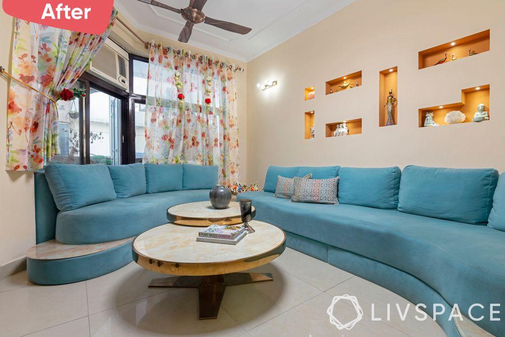 old house renovation-after image-living room-blue sofa-Gurgaon home