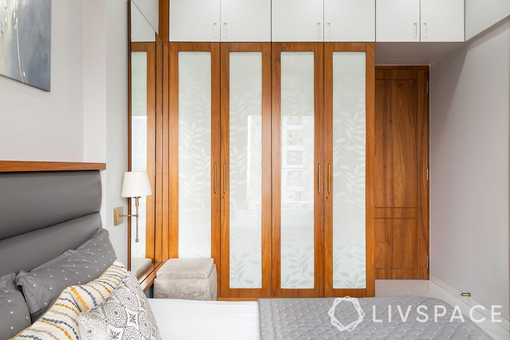 wardrobe designs-wooden shutters with glass