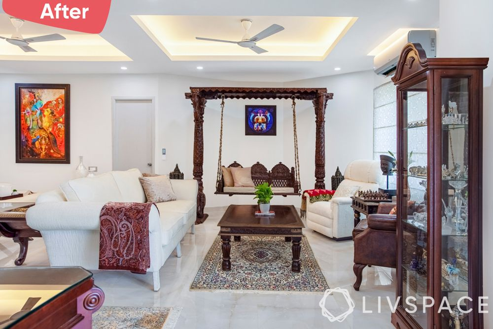 old house renovation-after image-traditional living room-jhula