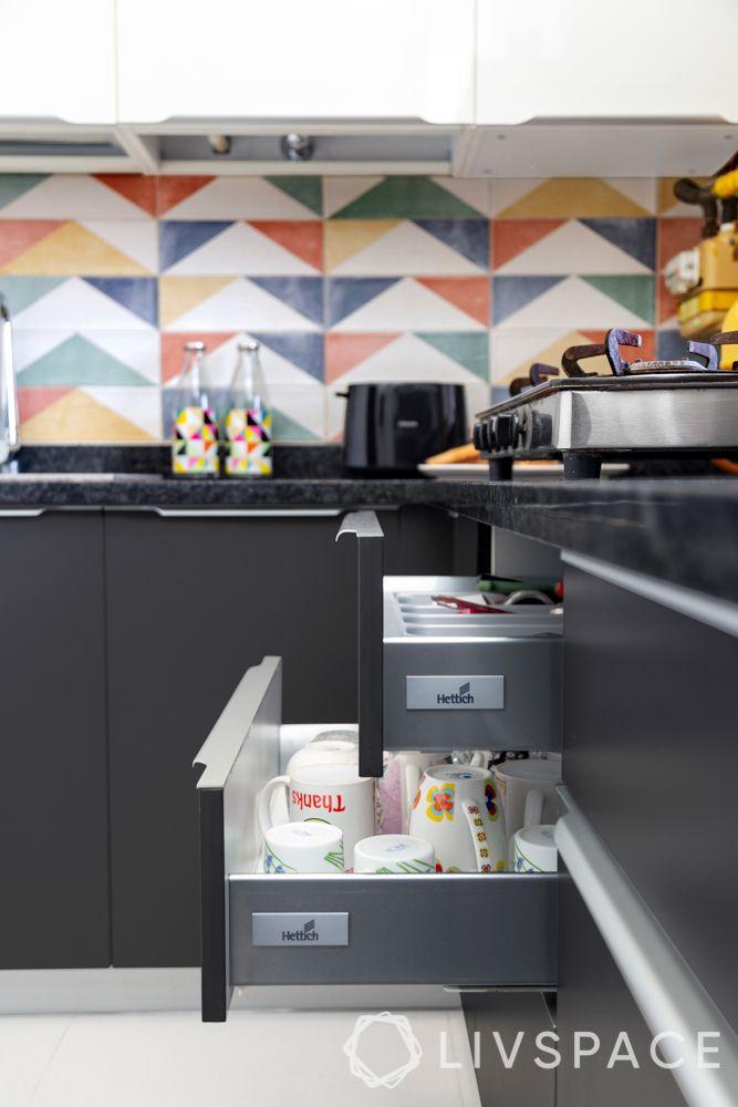 Indian style kitchen design images-drawer-storage