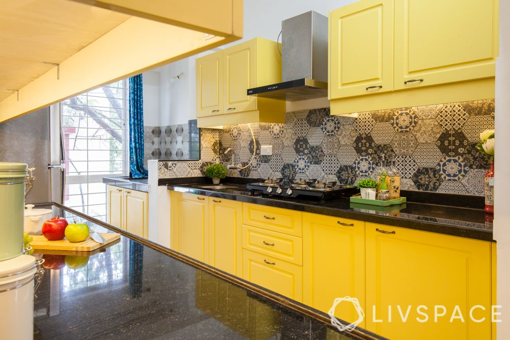 Indian style kitchen design images-yellow kitchen counters-extra utility space