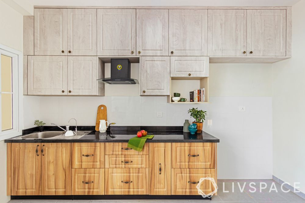small kitchen design Indian style-light and dark wooden