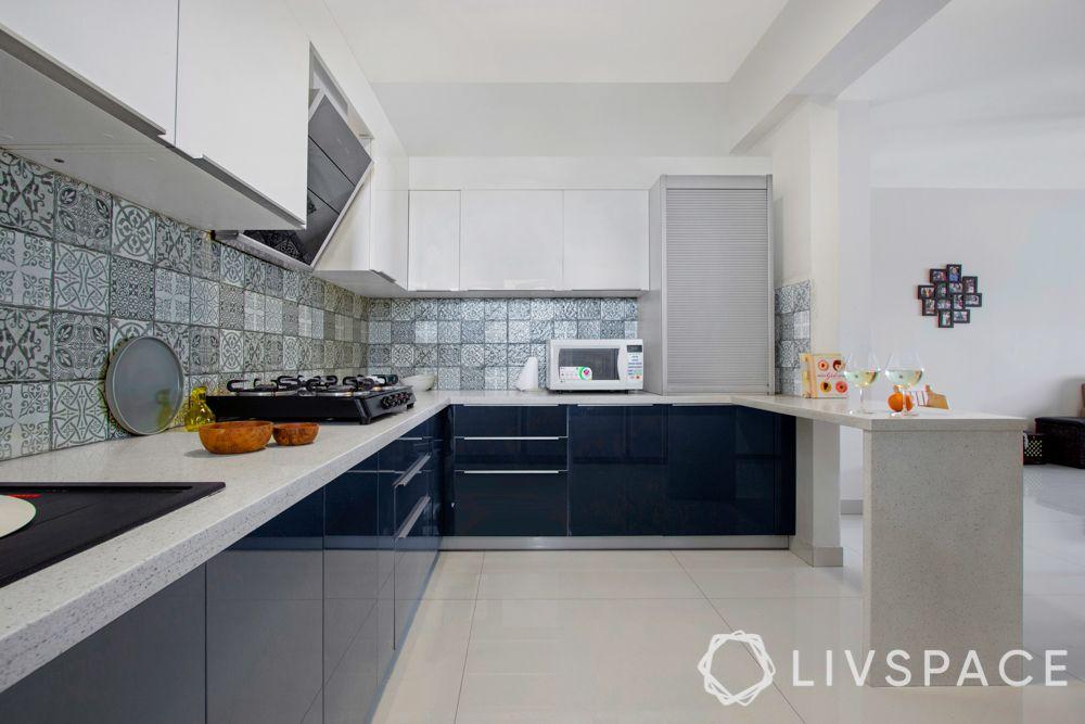 Indian style kitchen design images-quartz countertop-anti scratch cabinets