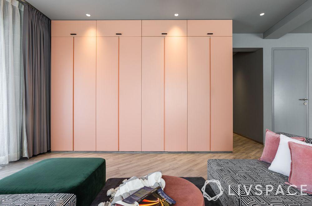 wardrobe designs-pink wardrobe-handleless wardrobe
