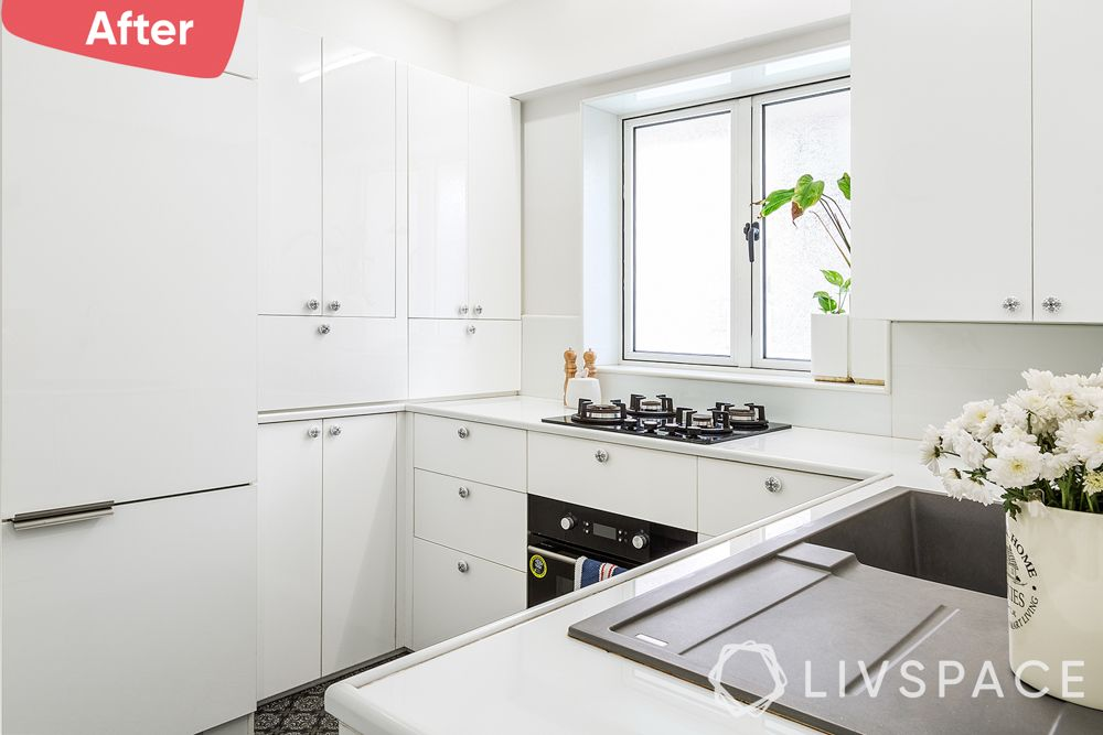 small kitchen design Indian style-after image-white kitchen-low maintenance