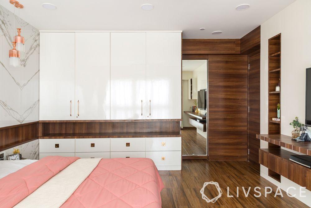 white wardrobe-wooden flooring