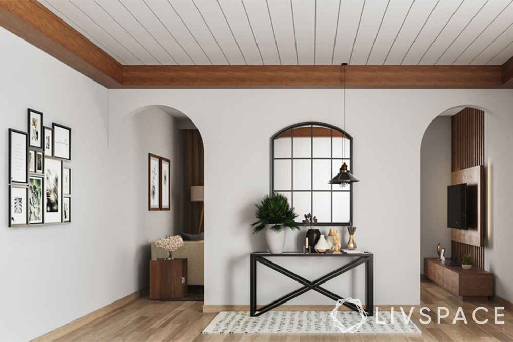wooden ceiling-entrance-modular rafters-mirror-console table