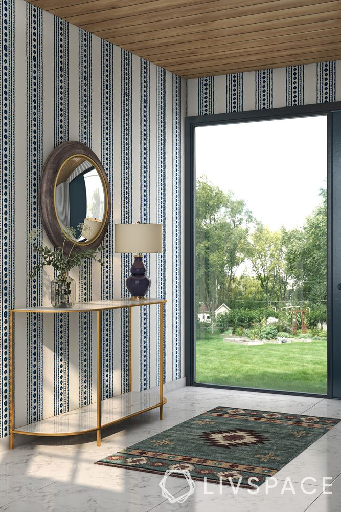 wooden ceiling-foyer-modular rafters-console table-mirror-wallpaper