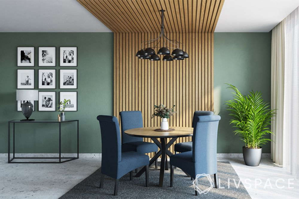 wooden ceiling-dining room-modular rafters