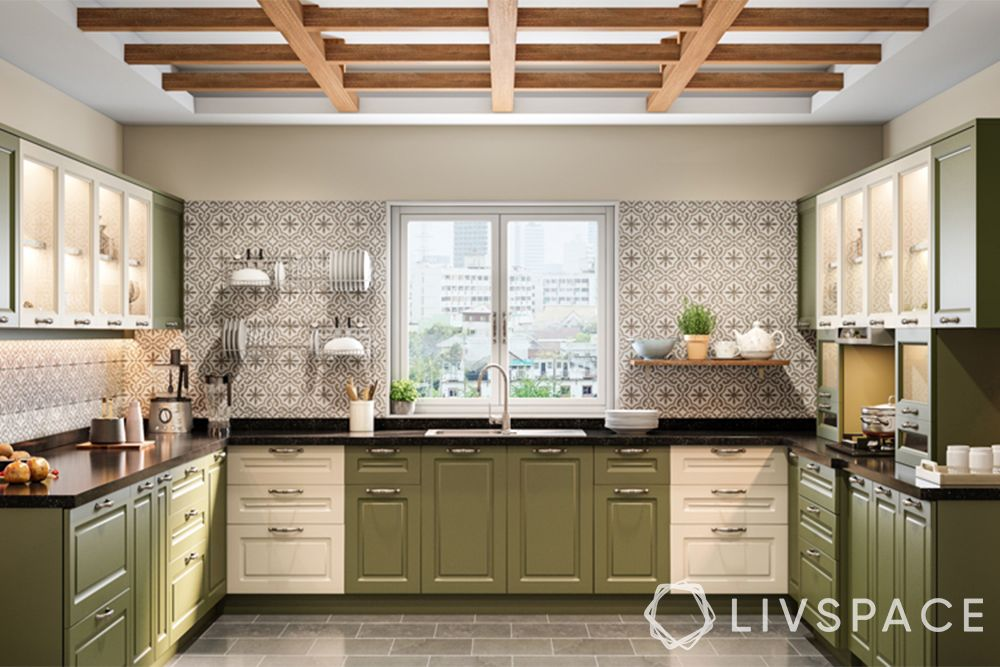 wooden false ceiling-kitchen-farmhouse style-grid modular rafters