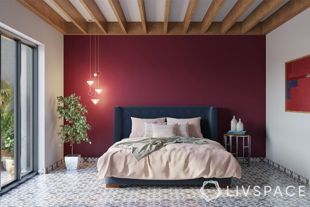 wooden false ceiling-bedroom-accent wall-pendant lights