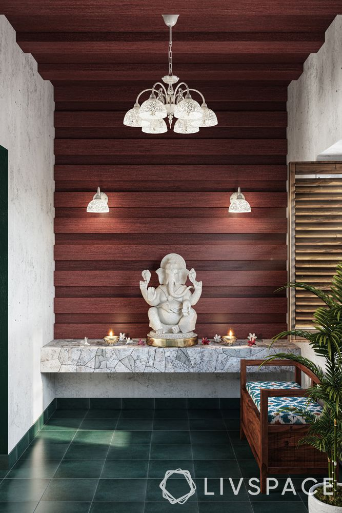 wooden ceiling-pooja room-maroon modular rafters-chandelier-lighting-ganesh