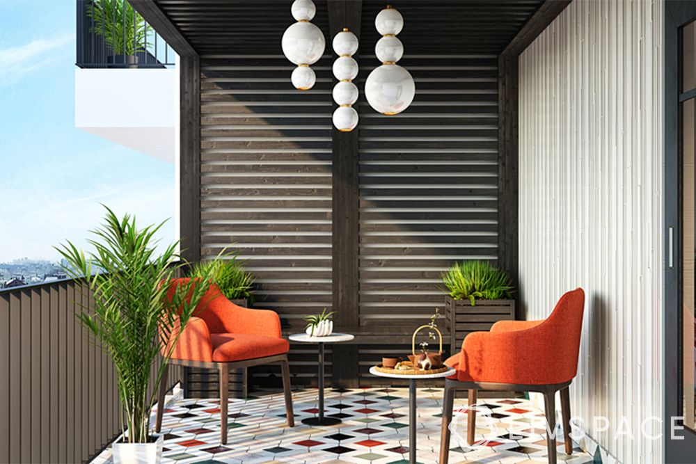 wooden ceiling-balcony-seating-plants-lights
