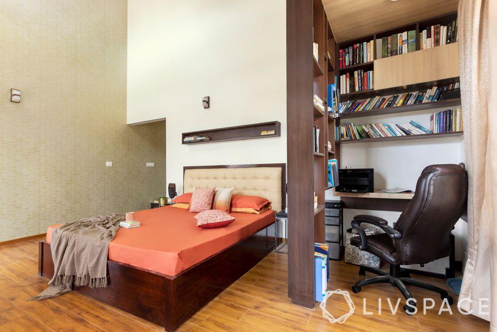 wooden flooring-bedroom-bookshelf-partition-study table