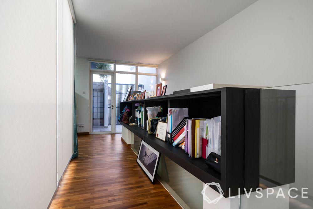 wooden flooring India-passage-bookcase