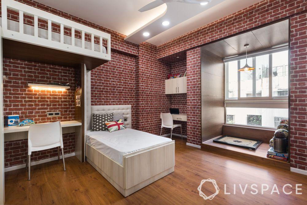 wooden flooring-rustic bedroom-brick like walls