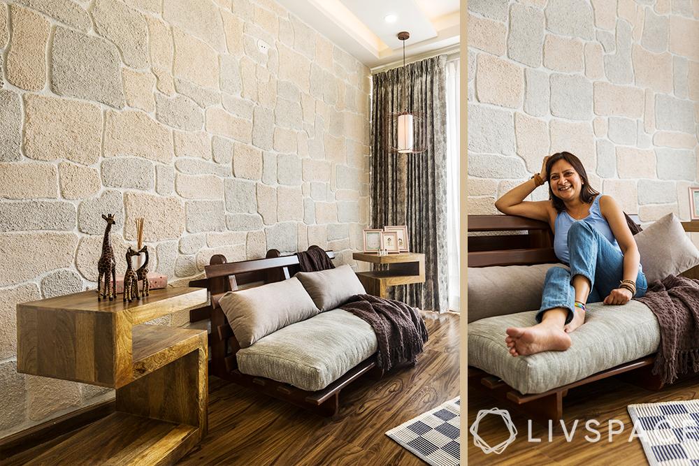 interior designers Delhi-Gurgaon home-Scandinavian interiors-lounge-sofa cum bed-POP brick wall