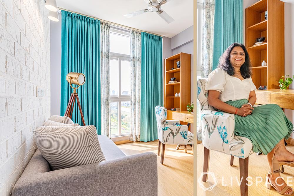 interior designers Delhi-study room-turquoise curtain-light