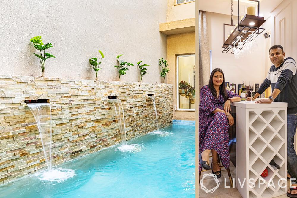 interior designers Delhi-indoor pool-wall cladding-fountains-Corian stone bar