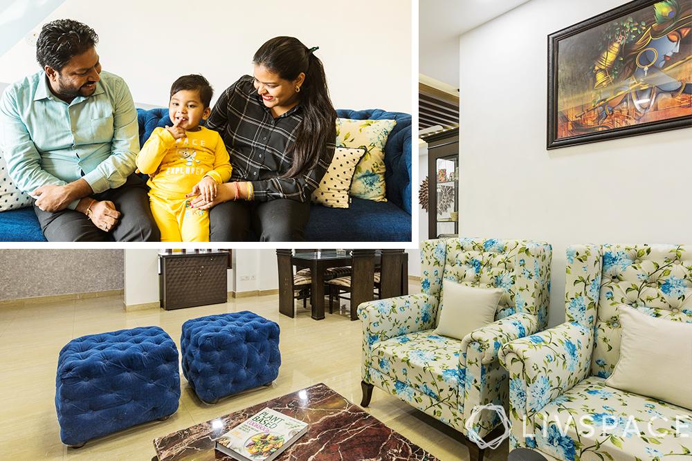 interior designers Delhi-living room-floral chairs-ottomans