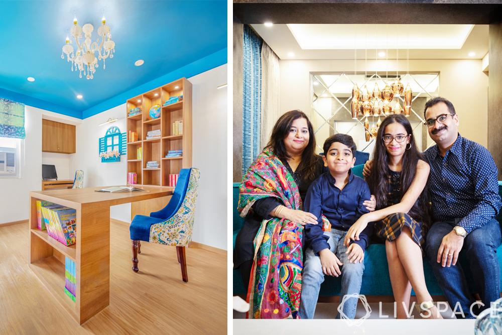 interior designers Delhi-Santorini themed study-blue ceiling-white walls-wooden furniture