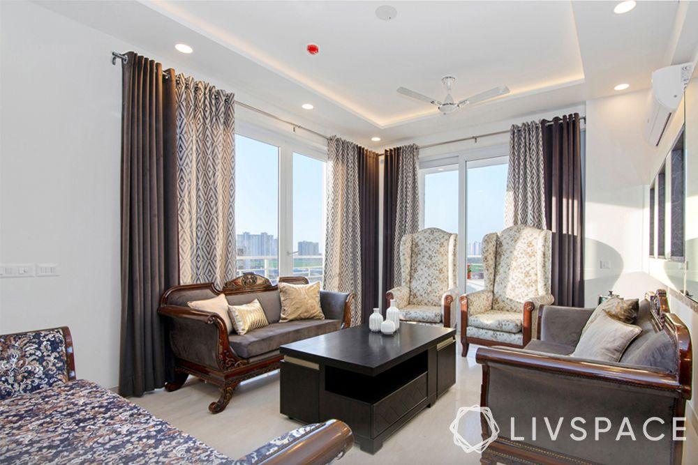 top interior designers in Delhi-contemporary living room-refurbished wooden furniture